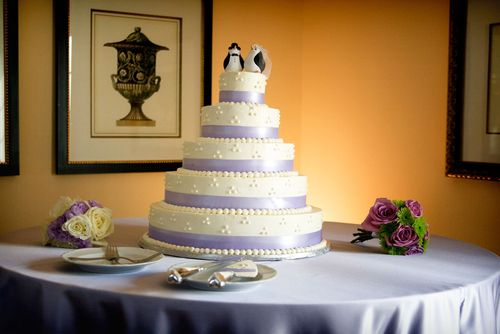 purple clay penguin wedding cake toppers
