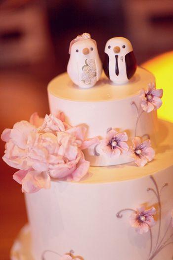 Raspberry-pink-bird-cake-toppers-ruffleda